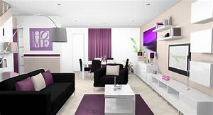 emejing deco salon noir blanc violet ideas design trends With deco salon design blanc