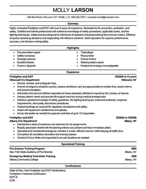 Firefighter Resume Templates by Firefighter Resume Exles Emergency Services Sle