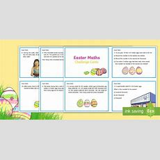 Year 5 Easter Maths Challenge Cards  Ks2 Easter 2017 (16th April), Maths