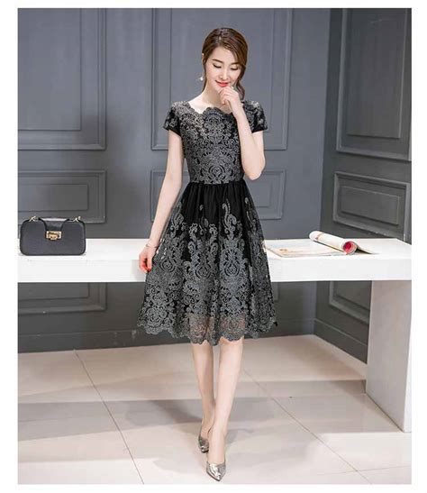 dress brokat hitam korea terbaru  myrosefashioncom