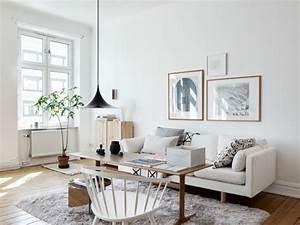 Salon Gris Et Bois : deco salon gris blanc scandinave ~ Melissatoandfro.com Idées de Décoration
