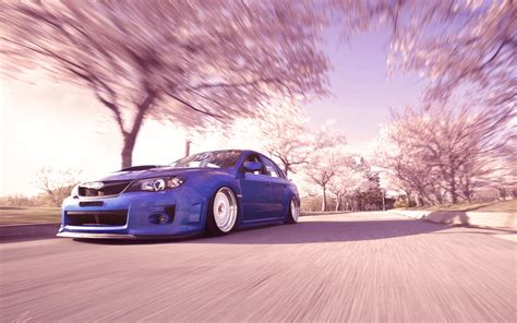 slammed cars wallpaper subaru wrx sti pink trees motion blur slammed tuning