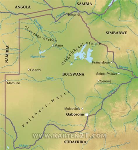 Karte von Botswana – Karten21.com