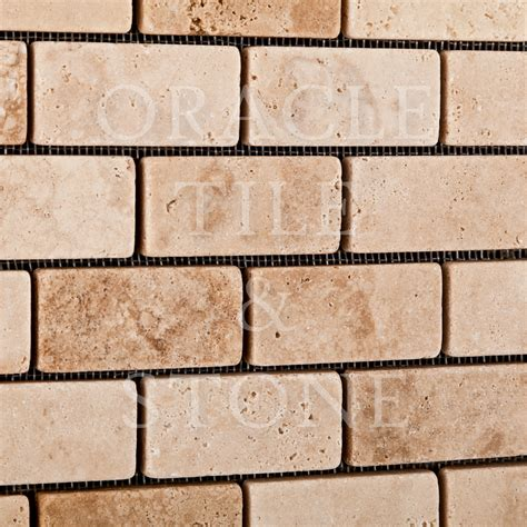oracle tile and andean vanilla travertine 1 x 2 brick mosaic tile oracle