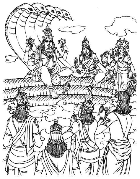 Free coloring page coloring_india-vishnu-human-form-rama. Coloring page of Vishnu who takes