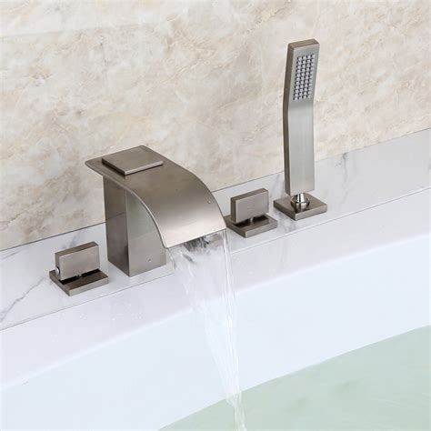 waterfall tub faucet milly brushed nickel widespread waterfall tub filler