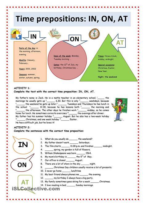 grammar worksheet preposition  time schematic