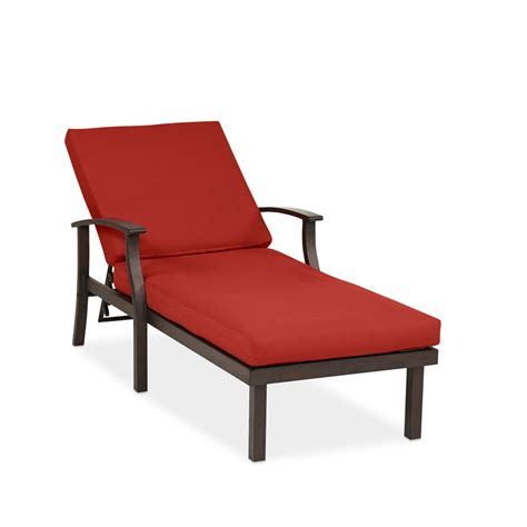 chaise aluminium exterieur shop allen roth gatewood 1 count brown metal patio