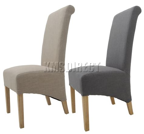 foxhunter linen fabric dining chairs roll top scroll high