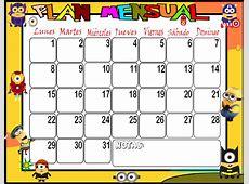 PLanificadores semanales y mensuales con dibujos animados