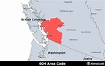 604 Area Code - Location map, time zone, and phone lookup