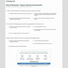 Quiz & Worksheet  Speed, Velocity & Acceleration Studycom