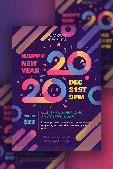 happy   year poster psd template
