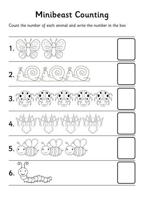 bugs count number worksheet may preschool farm farm
