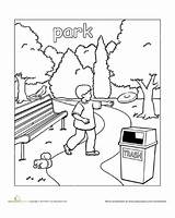 Coloring Town Park Pages Places Worksheets Preschool Colouring Education Worksheet Printable Paint English Around Drawing Kindergarten Want Sheets Pdf Local sketch template