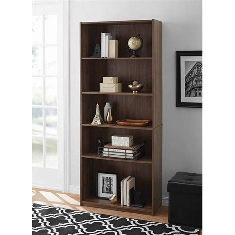 mainstays 5 shelf bookcase 5 shelf adjustable wide wood bookcase storage bookshelf