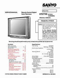 Sanyo Tv Ht27745 Sm780105 Service Manual Download