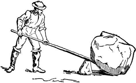 Man Using Lever And Fulcrum To Lift Rock Clipart Etc