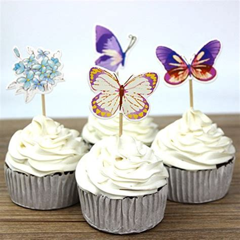 24pcs Butterfly Cupcake Toppers Picks Baby Shower Kids