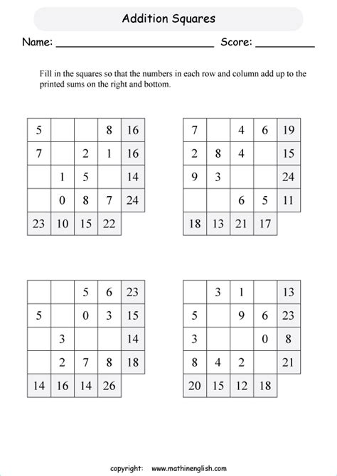 adding square 1 digit 2 by 2 addition squares