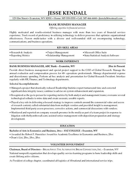 Resume Objective For Banking Operations by Best Business Manager Resume Sle 2016 Recentresumes