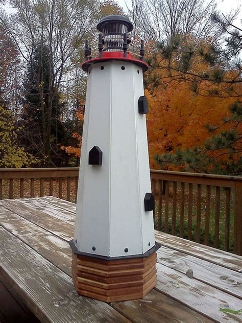 solar lighthouse wooden decorative lawn  garden yard