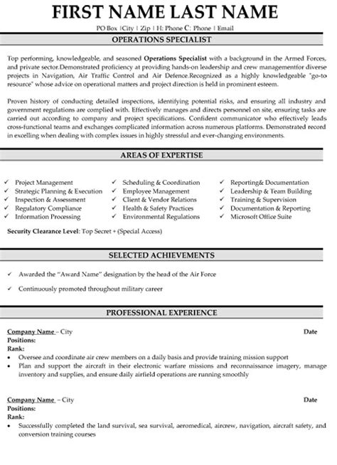 Navy Operations Specialist Resume Sle by Operation Specialist Resume Sle Template