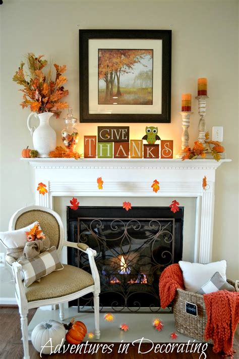 adventures  decorating  simple fall mantel