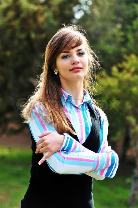 sweet teen girl outdoors stockfoto colourbox
