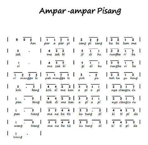 not pianika ar ar pisang not angka pianika lagu ampar ampar pisang