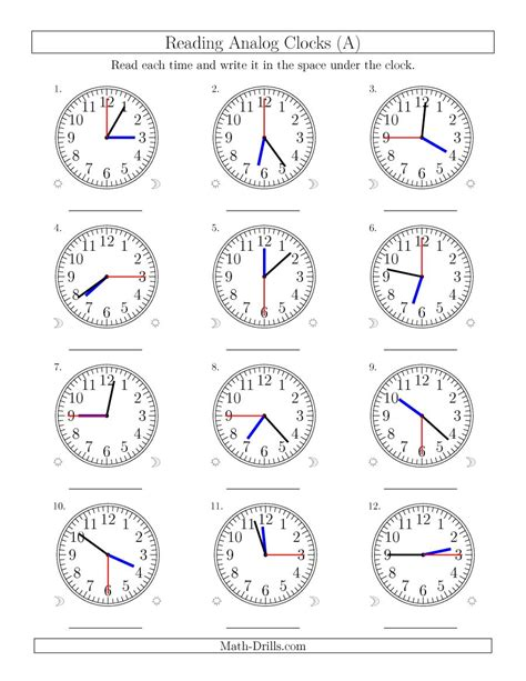 math analog clock worksheets telling time worksheets o