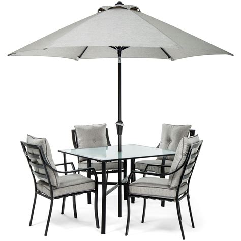 lavallette 5pc dining set in gray with table umbrella and