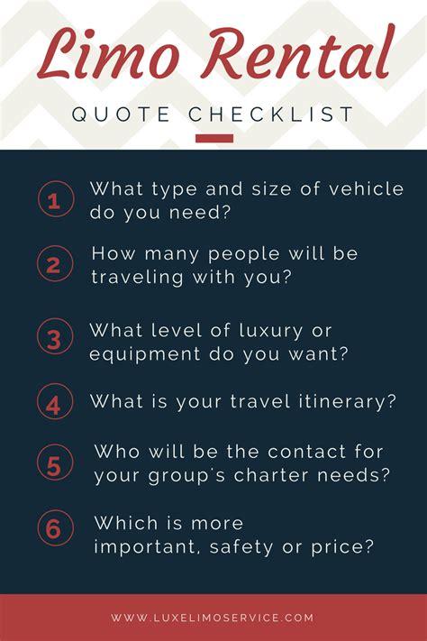 Limo Service Quotes quote checklist