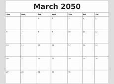 February 2050 Calendar Layout