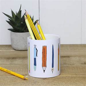 Personalised, Ceramic, Pencil, And, Pen, Holder, By, A, Piece, Of
