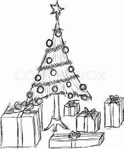 Doodle Christmas Tree And Gifts