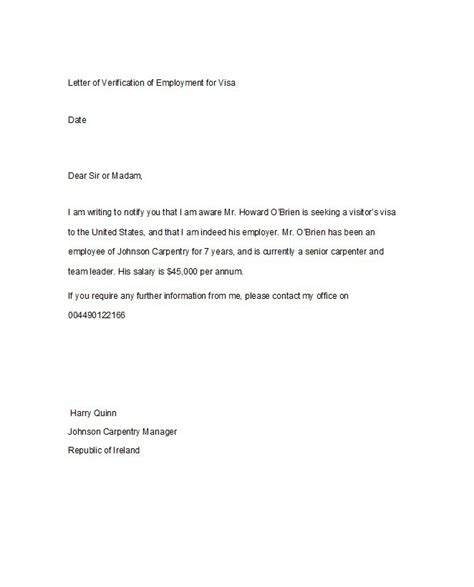 letter of employment 40 proof of employment letters verification forms sles 89654