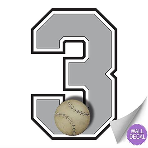 """Bring dimension to a plain wall with the stratton home decor set of 3 acrylic burst wall decor. Wall Number """"3"""" Baseball Jersey Numbers Varsity Uniform Vinyl Sticker Decals Childrens Room ..."""