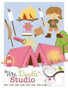 Girls Camping Clip Art
