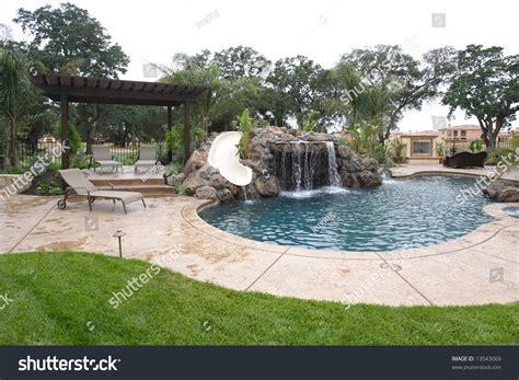 Waterfall Pool Luxury Backyard Tropical Landscaping Stock