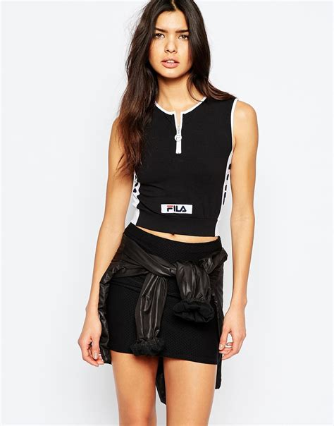 lyst fila fitted crop top  zip front detail  black