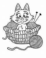 Coloring Yarn Pages Kitten Printable Cat Cartoon Knitting Cats Kittens Colouring Kitty Needles Printables Ball Cute Kleurplaten Activity Critters Sheknows sketch template