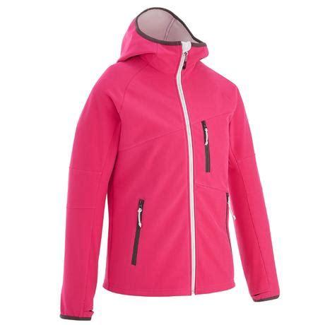veste softshell de randonnee fille hike  rose quechua