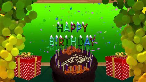 happy birthday animation video green background blue