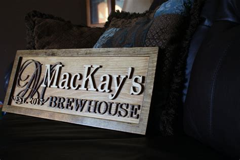 personalized bar sign rustic custom carved wooden pub sign