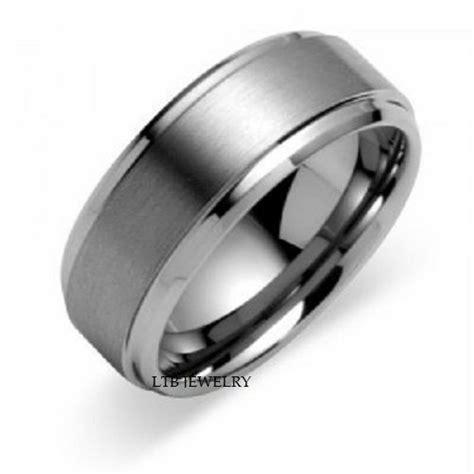 white gold mens wedding bands rings satin finish mm