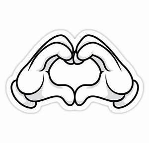 """""""Mickey Hands Heart Love"""" Stickers by thatshands Redbubble"""