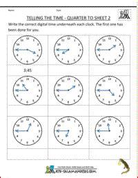 telling time worksheets quarter  sheet  math