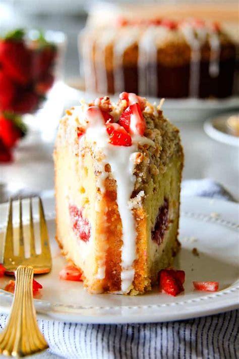 Blueberry coffee cake makes a great breakfast treat. Strawberry Cream Cheese STUFFED Sour Cream Coffee Cake