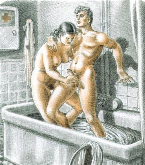 Hj Cartoon Art Bath A  Porn Pic From Handjob Cartoons 5